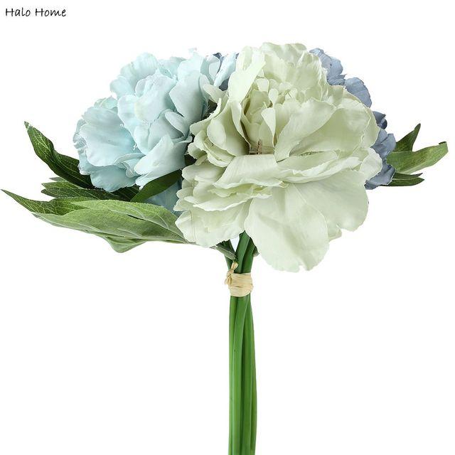 1 Bouquet Soie Artificielle Fleur De Pivoine Bleue Pour Les lieux ...