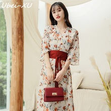 Ubei Women 2019 spring/summer style flare sleeve dress wind v-neck fashion high waist-cut floral print chiffon long