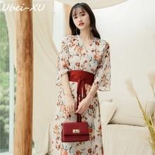 Ubei Women 2019 spring/summer style flare sleeve dress wind v-neck fashion high waist-cut floral print chiffon long dress v cut choker neck floral velvet dress