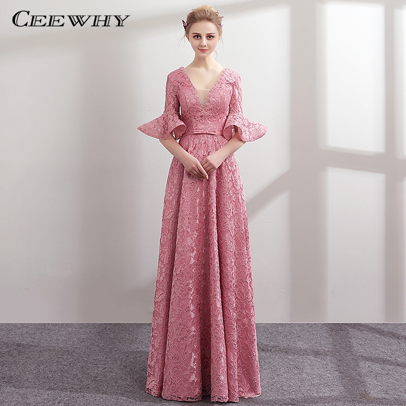 CEEWHY Ruffles Half Sleeve Lace Formal Dress Party Gown Elegant ...