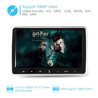 10.1 Inch Ultra thin Car Headrest DVD Player 1024 * 600 With Remote Control Power off Memory Function OSD Display