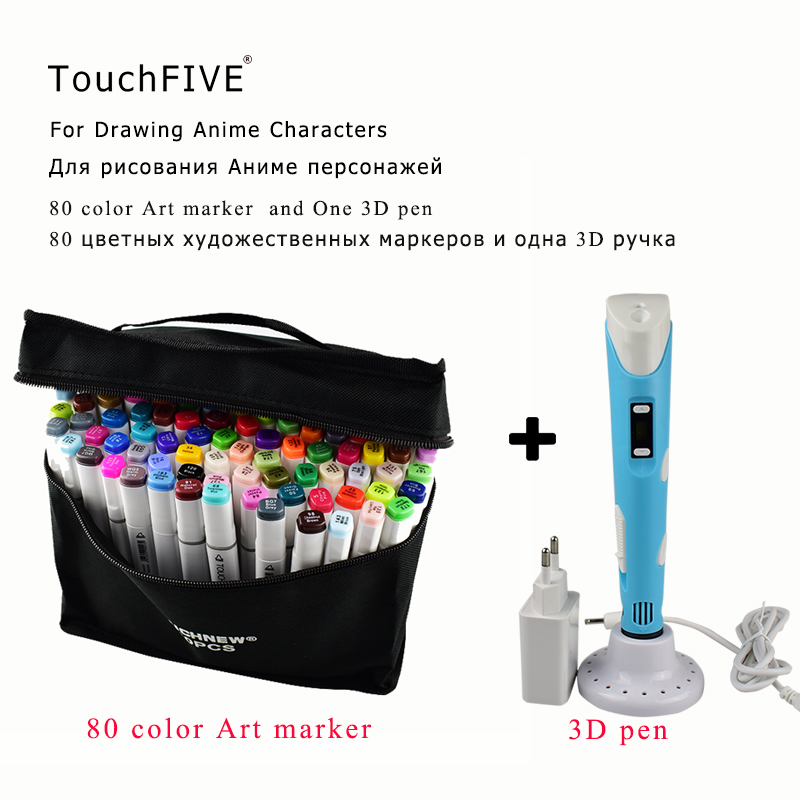 TOUCHFive 80 couleurs Art marqueur stylo double tête alcool croquis marqueurs stylo pour artiste 3D dessin Manga Design Art marqueur et 3D stylo
