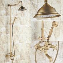 Vintage Retro antiguo latón doble cruz manijas baño 8 pulgadas redondo lluvia ducha grifo conjunto bañera mezclador grifo mano ducha mrs101