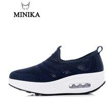 New Minika Toning Shoes Womens Sport for Swing shoe Wedges Zapatos Mujer Mesh Height Increasing Tenis Feminino Fitness
