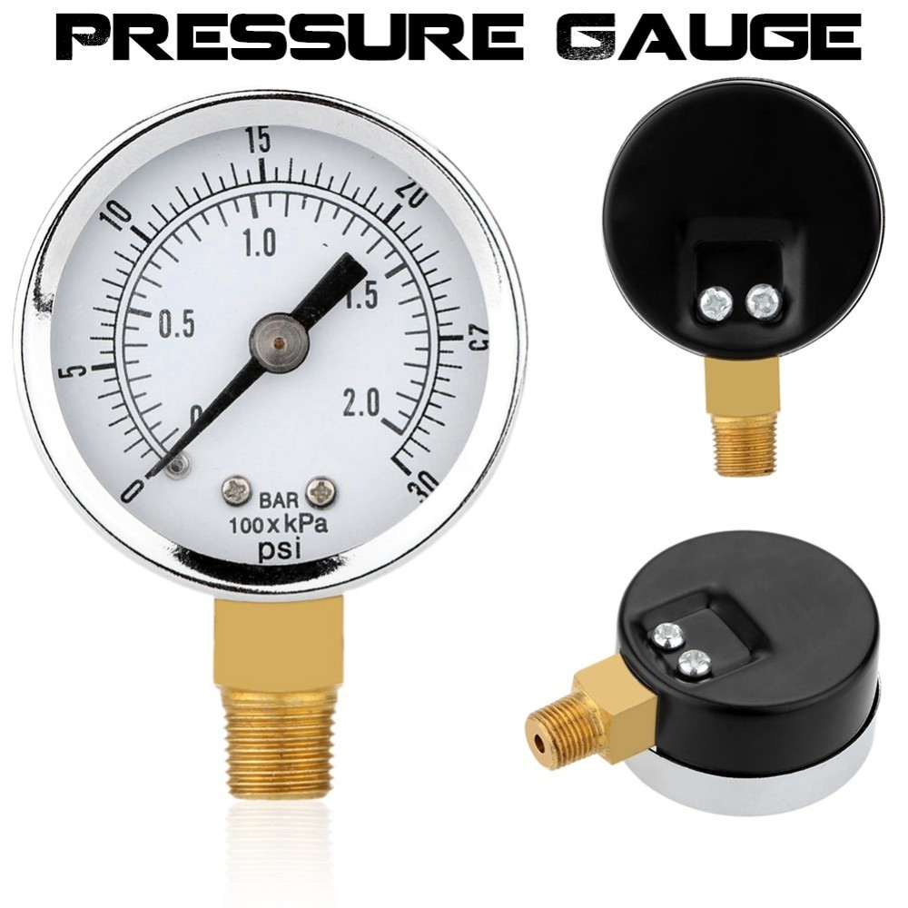 0-30psi 0-2bar 40MM Diameters Pressure Gauge Fuel Air Compressor Meter Hydraulic Pressure Tester Manometer Pressure Measurer