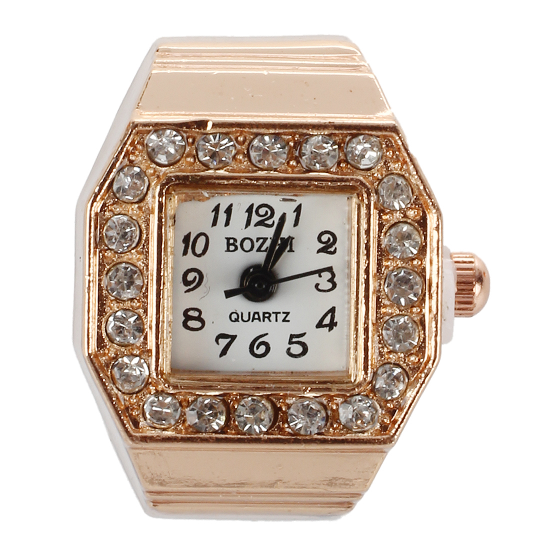 Square Dial Glitter Crystal Decor Elastic Band Finger Ring Watch Copper Tone for Lady