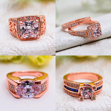 Luxury Female Big Blue White Wedding Ring Fashion Crystal Rose Gold Zircon Stone Ring Promise Love Engagement Rings For Women(China)