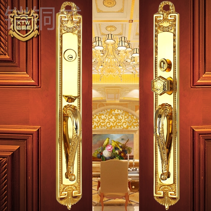 Kai Wei copper copper 24K golden gate lock villa double wood door locks copper door anti theft door lock on Aliexpress.com | Alibaba Group & Kai Wei copper copper 24K golden gate lock villa double wood door ...