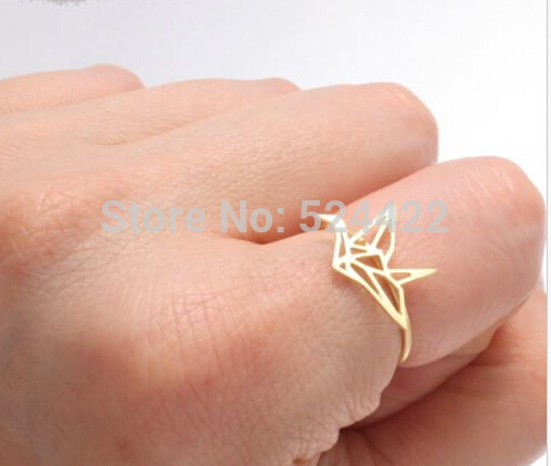 New Fashion Ring Origami Crane Wedding Rings for Women in Gold Silver and Rose G