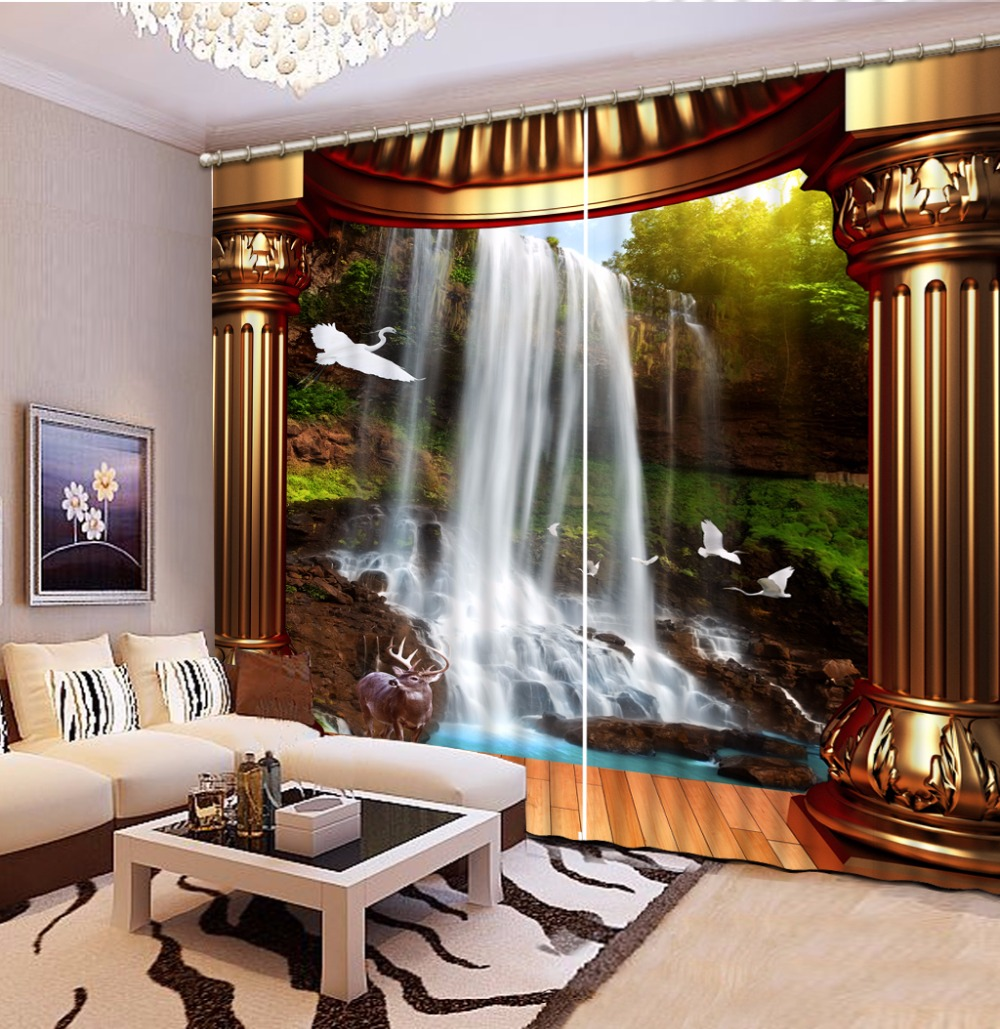 Curtains window 3d waterfall roman column landscape - European style curtains for living room ...