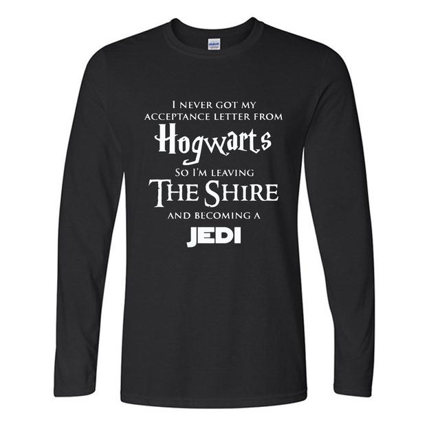 2017 autumn long sleeve t shirt men AW Fashion's Hogwarts streetwear Star War Jedi Inspired Funny Slogan Premium Men's Shirt