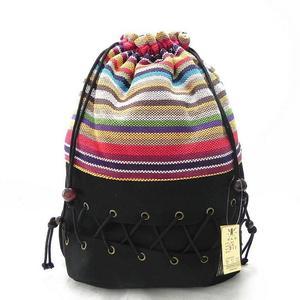 Image 2 - オリジナルエスニックキャンバス袋パック女性の綿のプリントカラフルなバックパック十代わら文字列フォローアウトストリップバッグ