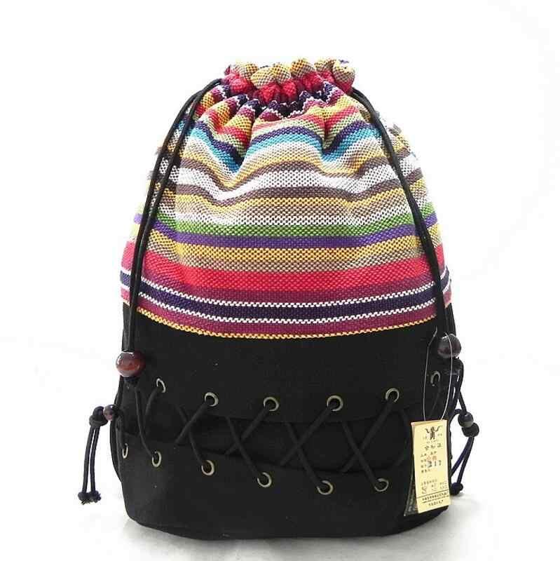 Оригинальный этнический холщовый мешок, Женский хлопковый цветной рюкзак с принтом, Подростковая соломенная сумка с полосками