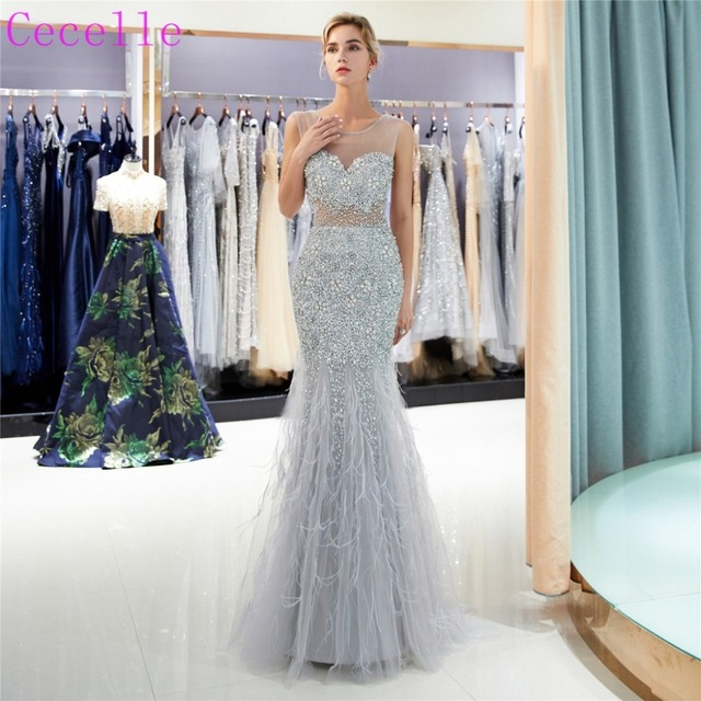2019 Sexy Beading Silver Gray long Mermaid Prom Dresses Sleeveless Illusion  Top Women Sparkly Evening Party Gowns ac3d5ac79075