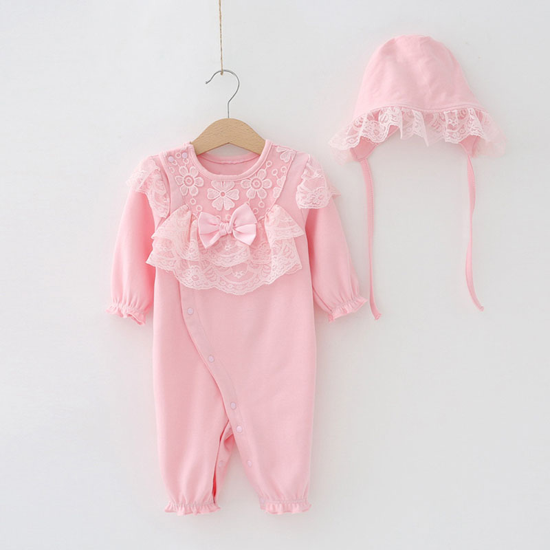 Baby Girls Cotton Pink Clothing Sets Newborn Long Sleeve Pink Romper+Cap 2Pcs Flower Bow Tie Decor Ruffles Sweet Babies Clothes alumi curl cap pink