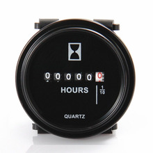 Car Engine Mechanical Round Hour Meter Counter Timer Hourmeter DC 8~80V Auto Car Gauge Meter