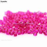 Isywaka 1980pcs Cube 2mm Rose Color Square Austria Crystal Bead Glass Beads Loose Spacer Bead For
