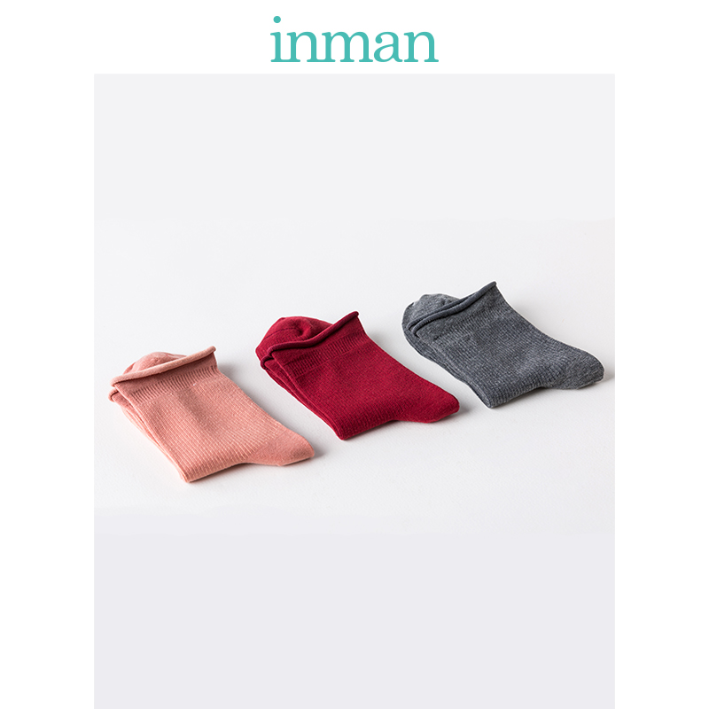 INMAN Winter Spring Autumn Solid Color Women Socks Three Pieces Suit