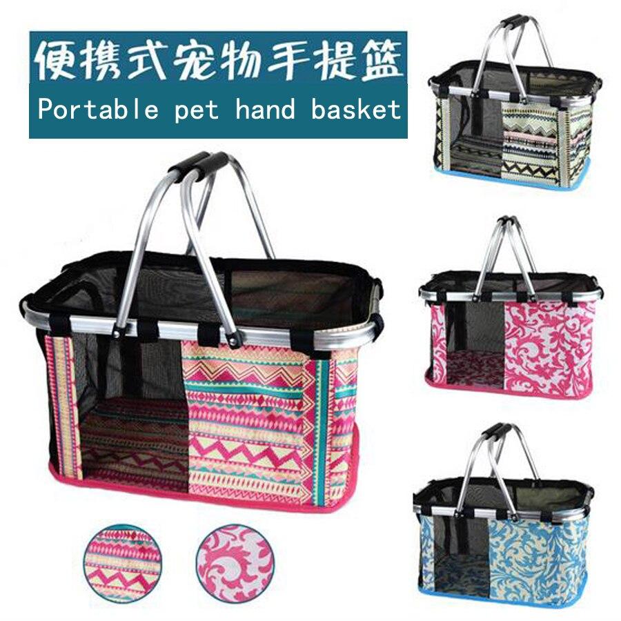 High quality oxford Folding type Pet bag Pet hand basket Portable pet travel bag 4Color S and L Size Pet carrying bag DogFad