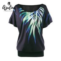 AZULINA Plus Size Leaf Printed Cold Shoulder T Shirt Women Summer O Neck Short Sleeves T