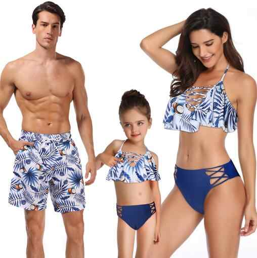 424827472c ... beach family swimwear leaf print ruffled mother daughter bikini  swimsuits father son swimming trunks mommy daddy ...