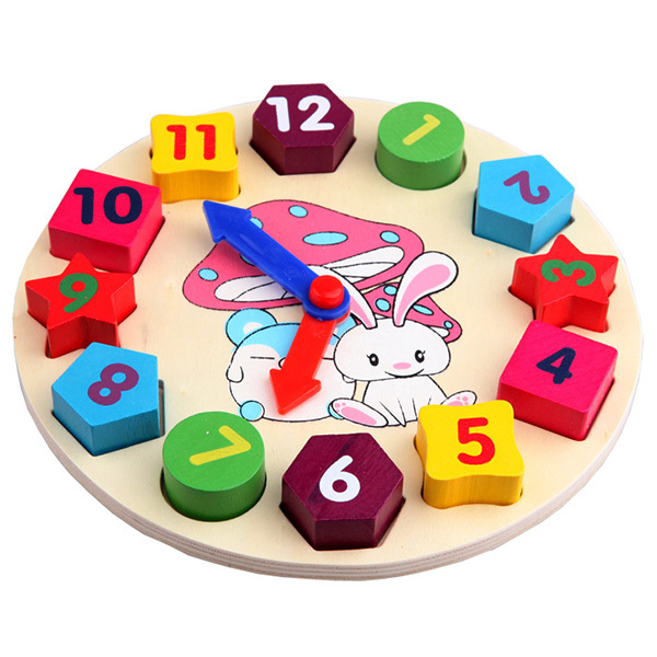 Baby Kids Wooden Toys Digital Geometry Clock Educational