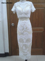 2017 real photos short sleeves slit back beaded lace fashion white sexy 2 piece prom dresses for women party club dress