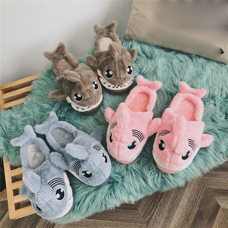 Winter Animal Funny Shoes For Men and Women Warm Soft Bottom Home&House Indoor Floor Shark Shape Furry Slippers Shallows #40A suihyung funny rabbit shape women winter home slippers plush indoor floor shoes female warm furry soft bottom slippers chinelos