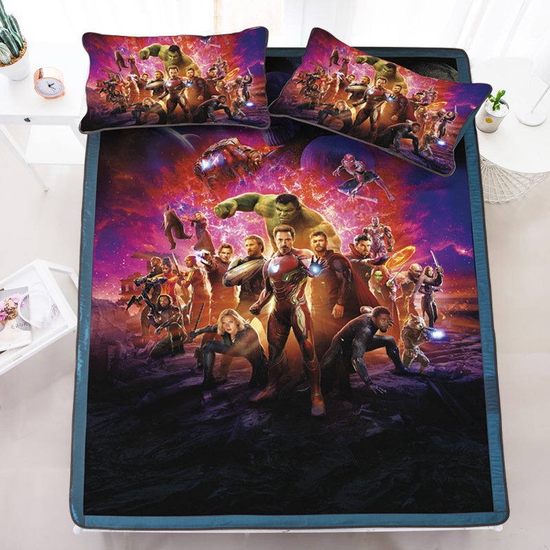 Cartoon Ice Silk Cool Bed Sheets Lovely Charming Little Beauties Heroes  Iron Men Ninjas Pirates 2/3pcs Bed Sheet And Pillow Case