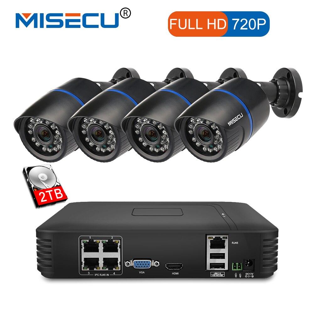 MISECU 4CH POE 1080 p NVR 4 pc 1.0mp 15 v PoE IP Caméra P2P HDMI 1080 p CCTV Système surveillance IR Nuit vision out/intérieur PC et Téléphone