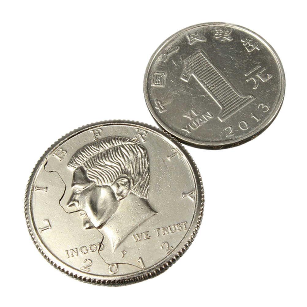 Новые горячие два сложения Биткойн долларов волшебное крупным планом уличное волшебство трюки Опора Биткойн и укус деньги восстановление половина иллюзия