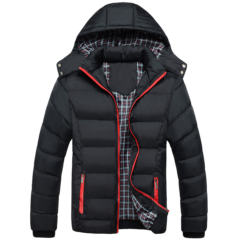New winter jacket men outwear fashion cotton down coat with Removable hood slim fit parka jacket men brand clothing size XL~4XL