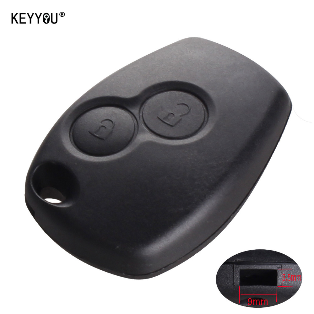 KEYYOU 10x Without Blade 2 Buttons Car <font><b>Key</b></font> Shell Remote Fob Cover Case For Renault Dacia Modus Clio 3 Twingo Kangoo 2