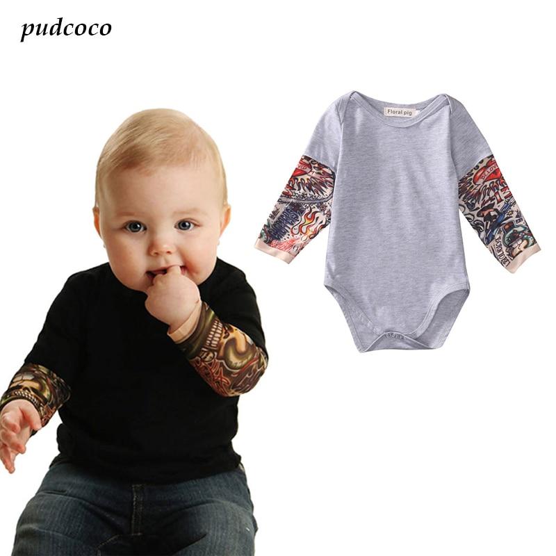2017 Summer Cotton Newborn Baby Boy Bodysuit Clothes Tattoos Print Long Sleeve Bodysuit Jumpsuit Outfits Black Gray
