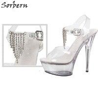 Sorbern Transparent Chains Sandals Size 11 Women Shoes Platform Wedges Womens Sandals Summer Super High Heels Open Toes