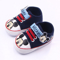 Canvas Mickey Mouse Pattern Shoelace Toddler Shoes Boy And Girl Learning First Walking Shoes Soft