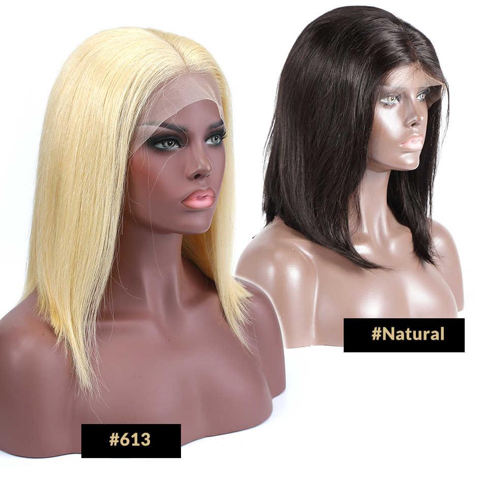 Luvin 613 блондинка 13x6 Синтетические волосы на кружеве парики для чернокожих женщин прямые бразильские человеческие волосы короткий Боб Синтетические волосы на кружеве al парики предварительно вырезанные