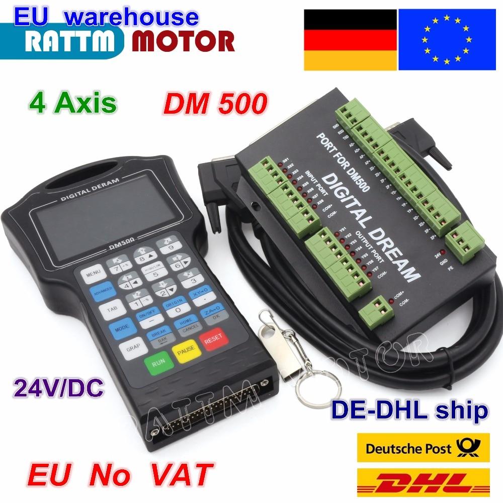 EU ship DM500 3 Axis / 4 Axis 500Khz Handwheel Motion Controller G code For Engraving Machine replace DSP A11E 23 User's keys