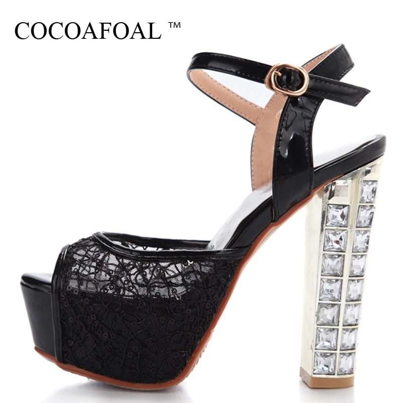 COCOAFOAL Woman Peep Toe High Heels Sandals Gladiator Women Shoes Party Sexy Women Rhinestone Sandals High Heels Shoes 32 33 43 enmayla women high heels lace shoes woman t strap stiletto heels peep toe sexy gladiator sandals women party wedding shoes