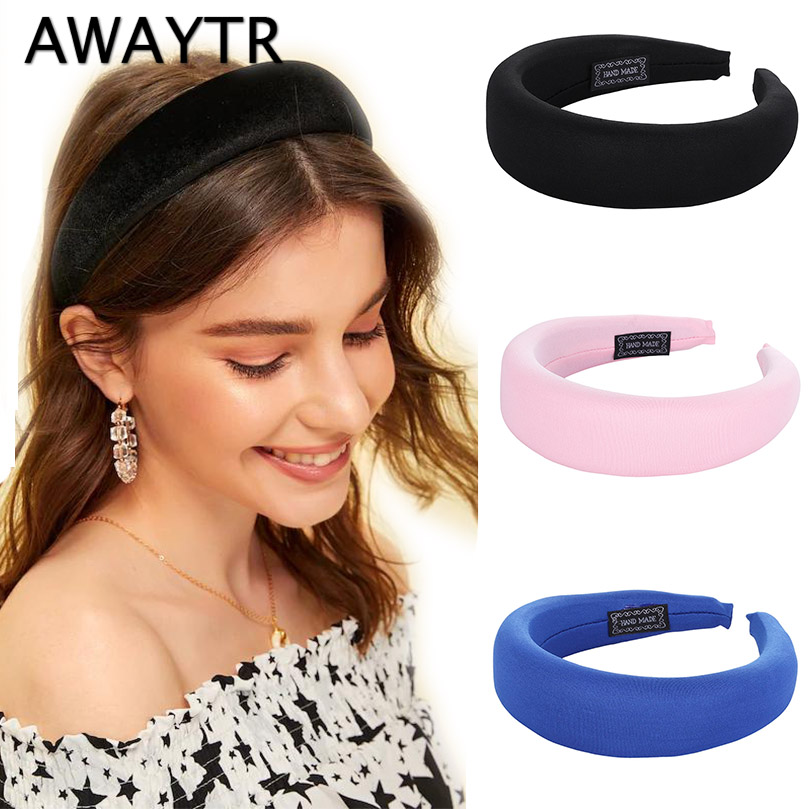 AWAYTR New Fashion Cloth Headband for Women Plastic Padded Hairbands Retro Luxury   Headwear   Handmade Ladies Hair Accessories