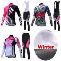 Women China Team Winter Thermal Fleece Cycling Jersey Kits 2017 Bike Clothing Female Bicycle Clothes Riding