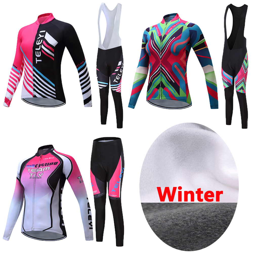 Women China Team Winter Thermal Fleece Cycling Jersey Kits 2017 Bike Clothing Female Bicycle Clothes Riding Maillot Skinsuit Set black thermal fleece cycling clothing winter fleece long adequate quality cycling jersey bicycle clothing cc5081