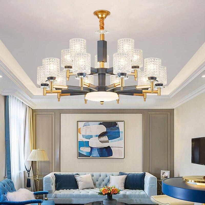 Moderne or gris métal Led lustres éclairage salon verre pendentif Led lustre lumières suspendus luminaire pour chambre