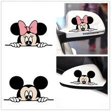 Pegatinas divertidas y lindas de personajes de dibujos animados para coche, pegatinas de Mickey, Minnie, estilo sofisticado, calcomanías decorativas para coche 14*8