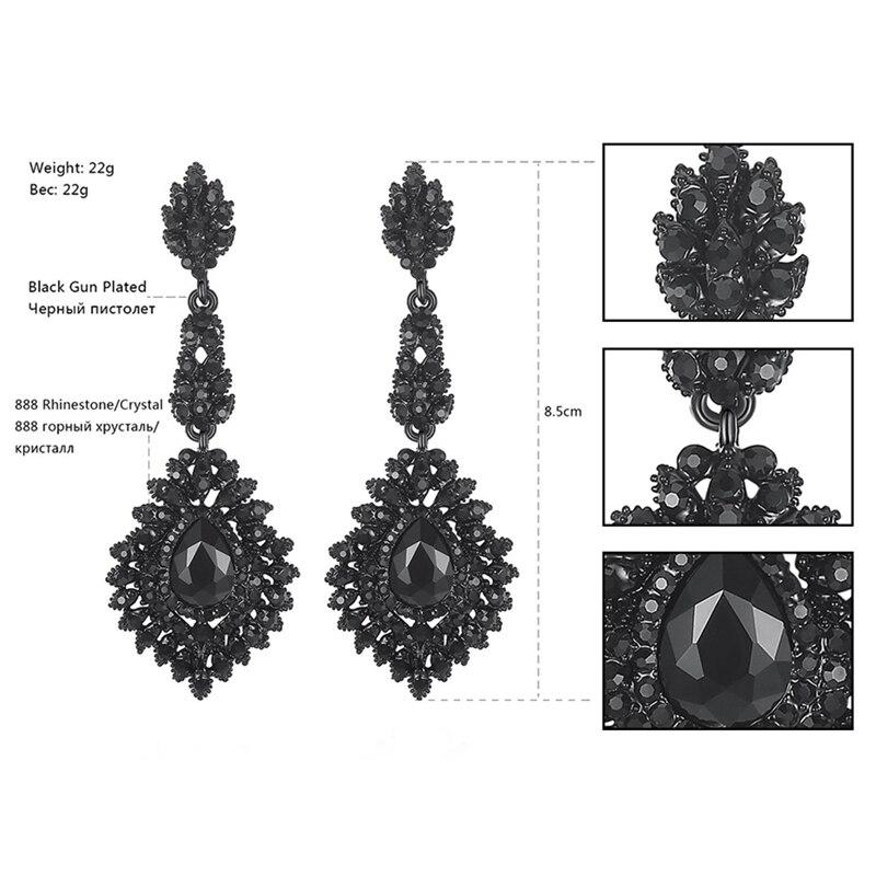 Minmin Vintage Schwarz Lange Kronleuchter Ohrringe für Frauen - Modeschmuck - Foto 4