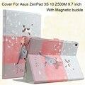 Pu cuero de la tableta cubierta elegante para el asus zenpad 3 s 10 z500m 9.7 pulgadas mediapad 3 plegable cubierta del soporte sleep/wake up case + regalos