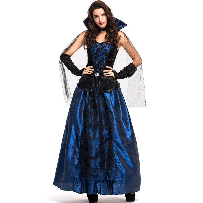 Ladies Vampiress Costume Adult Vampire Countess Halloween Fancy Dress Outfit