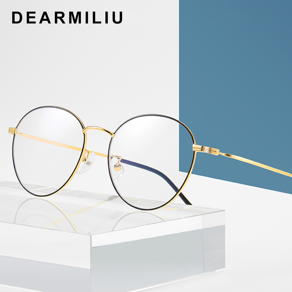Dearmiliu Oval Frame Rose Gold Anti Blue Light Blocking Glasses Led Computer Reading Glasses Radiation-resistant Gaming Eyewear Attractive Appearance