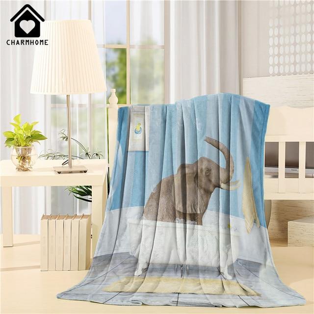 Personalized Flannel Fleece Fabric Blanket Elephant Taking A Shower ...