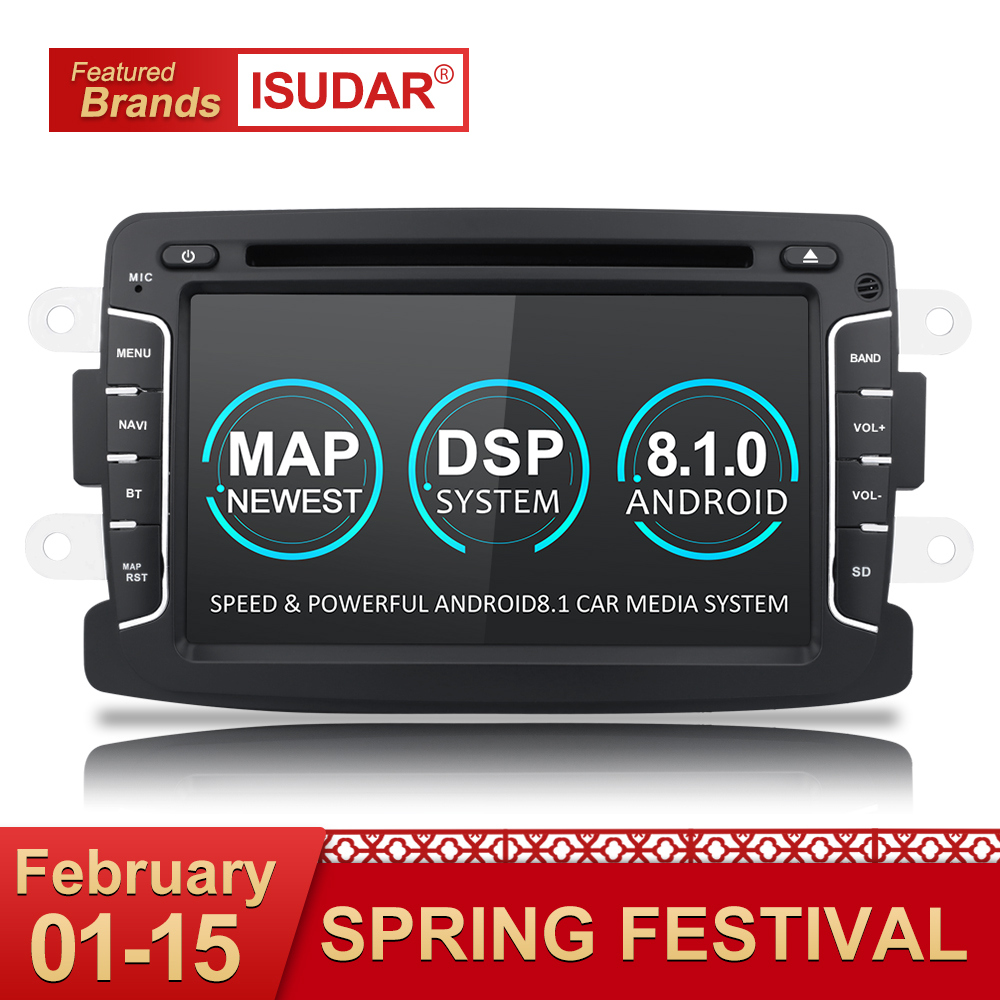 Isudar Voiture lecteur multimédia Android 8.1 Automotivo 2 Din Pour Dacia/Sandero/Chiffon/Renault/Captur/Lada /Xray 2/Logan 2 SPG RAM 2G